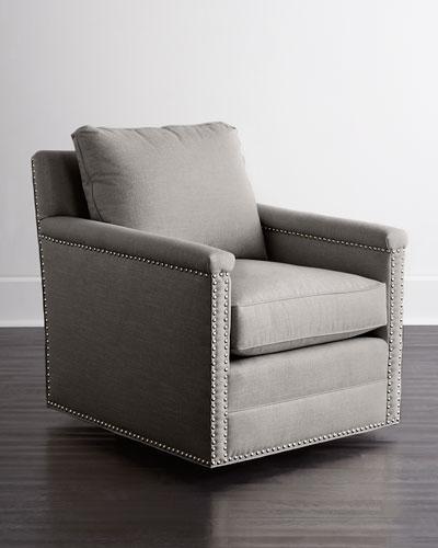 Avis St. Clair Light Gray Tweed Swivel Chair