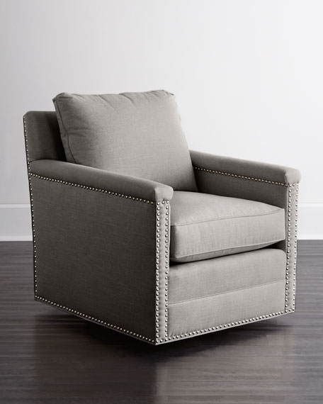 Genial Avis St. Clair Light Gray Tweed Swivel Chair