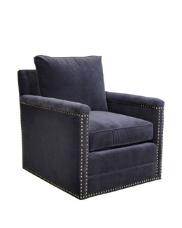 Avis St. Clair Navy Velvet Swivel Chair