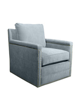 Avis St. Clair Sky Blue Velvet Swivel Chair