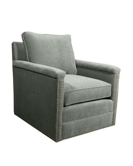 Avis St. Clair Aqua Velvet Swivel Chair