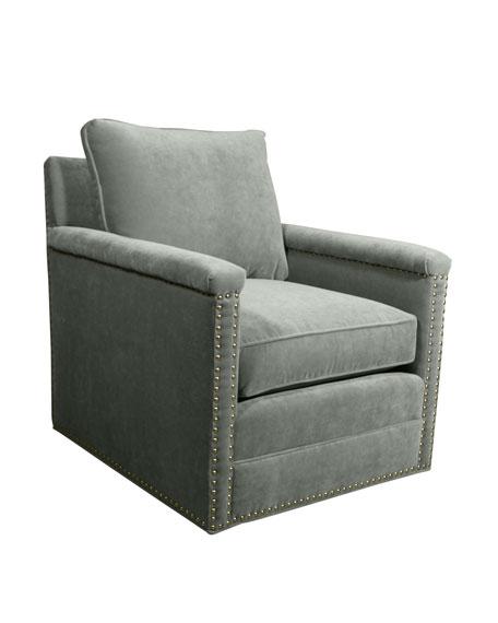 Avis St. Clair Aqua Velvet Swivel Chair