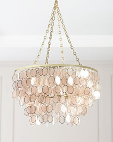 Aurora Three-Light Capiz Shell Silvery Chandelier
