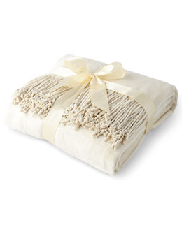 Cream Silk Fleece Throw