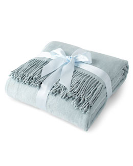 Spa Blue Silk Fleece Throw