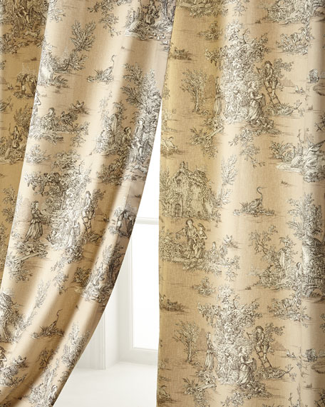 "Two 96""L Pastorale Toile Curtains"