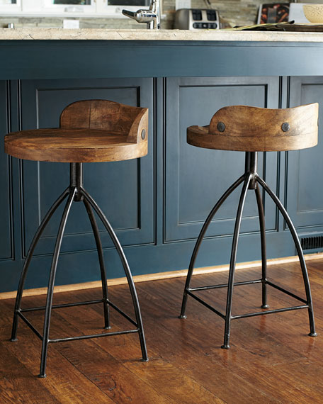 Wood Swivel Counter Stool