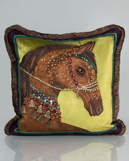 """Jay Strongwater Horse Pillow, 20""""Sq."""
