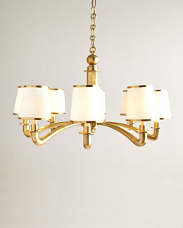 Eight-Light Brass Arm Chandelier