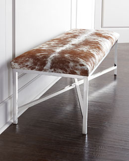 Massoud Longhorn Hairhide Bench