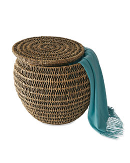 Espresso Seagrass Storage Stool