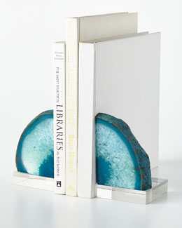 Teal Geode Bookends