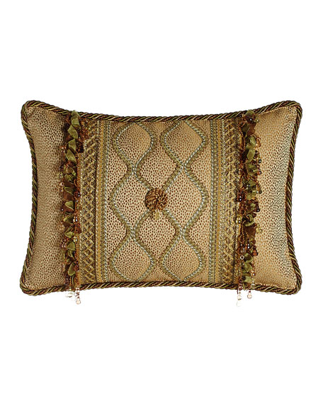 "Oblong Rosette Pillow with Gimp Accents & Ribbon & Bead Fringe, 14"" x 22"""
