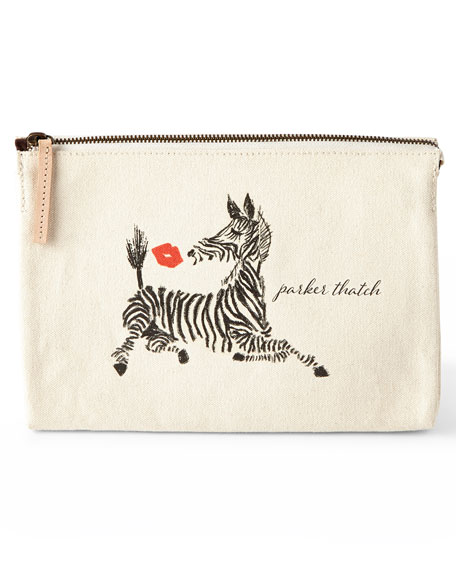 Zebra Kiss Large Personalized Cosmetic Bag