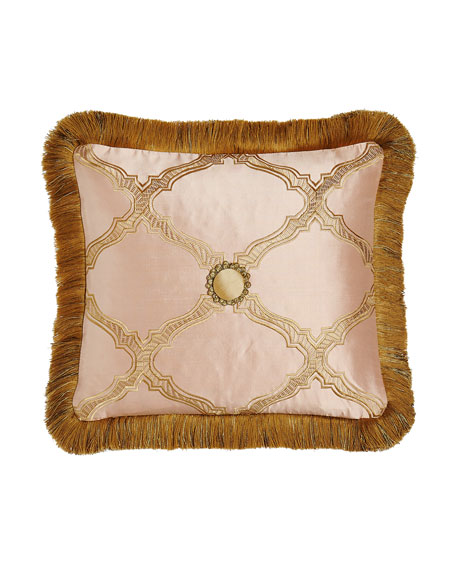 "Versailles Reversible Pillow with Fringe, 15"" x 14"""