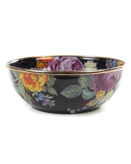 MacKenzie-Childs Flower Market Black Everyday Bowl