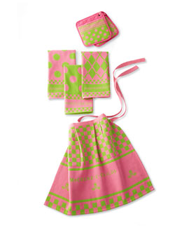 Pink & Green Kitchen Linens Set