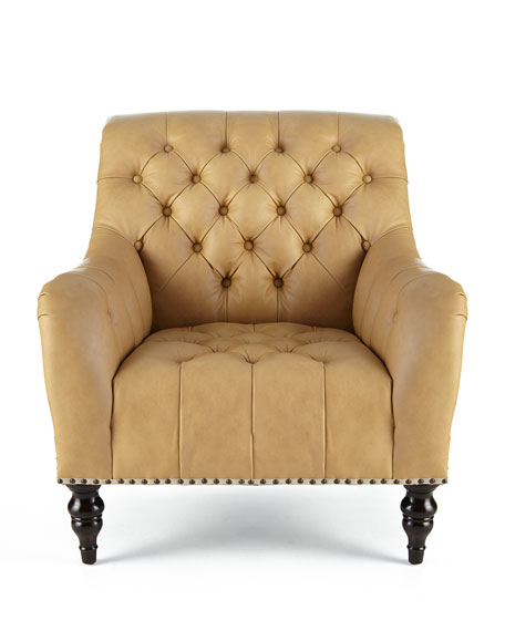 brady tufted leather chair ottoman