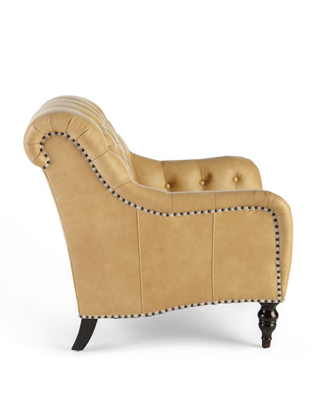 Brady Tufted Leather Chair & Ottoman