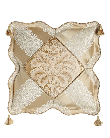 "Meriemont Scalloped Pillow with Corner Tassels, 18""Sq."