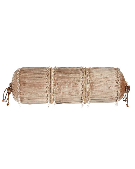 "Modern Maiden Ruched Silk Neckroll Pillow, 8"" x 21"""