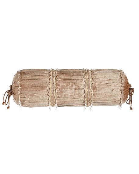 "Modern Maiden Ruched Silk Neck Roll Pillow, 8"" x 21"""