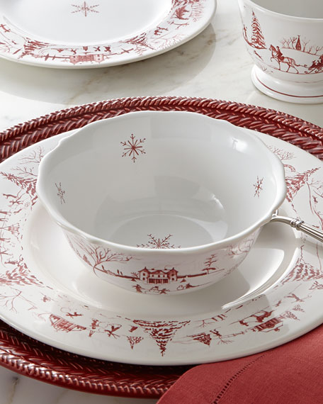 Country Estate Winter Frolic Ruby Cereal/Ice Cream Bowl