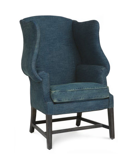 Genial Beau Denim Wing Chair