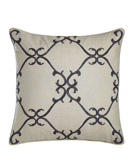 "Dante 20""Sq. Beaded Scrollwork Pillow"