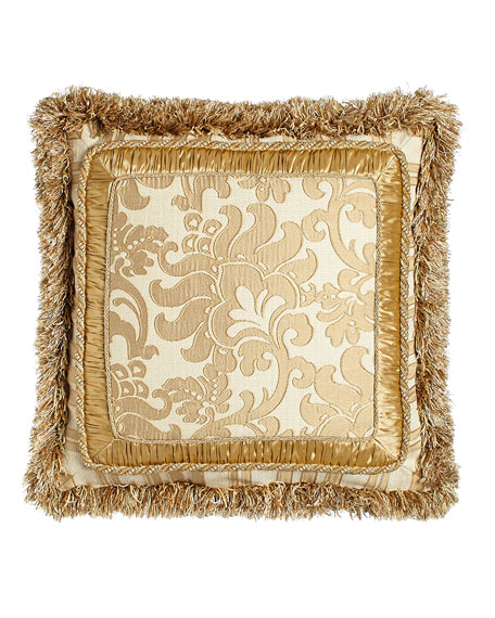 "Fringed Pillow with Framed Floral Center, 21""Sq."