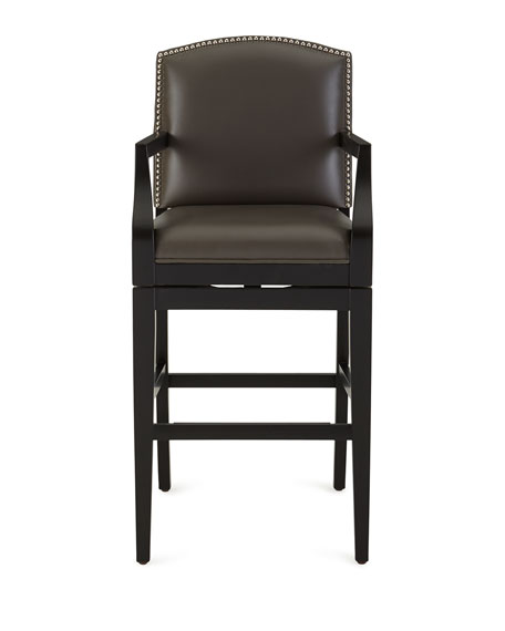 Aiden Leather Swivel Barstool