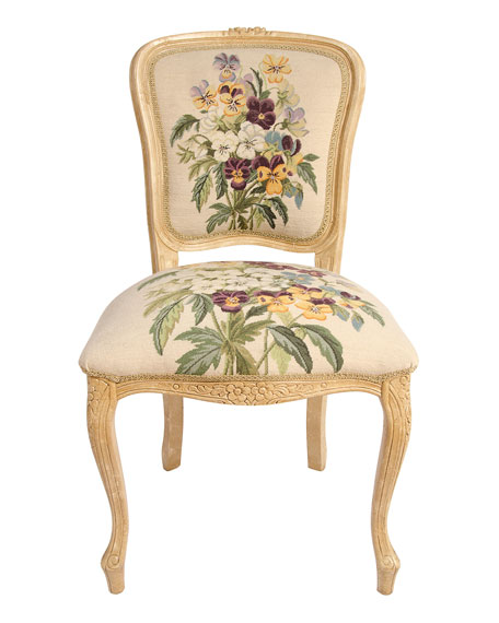 Pansy Needlepoint Chair