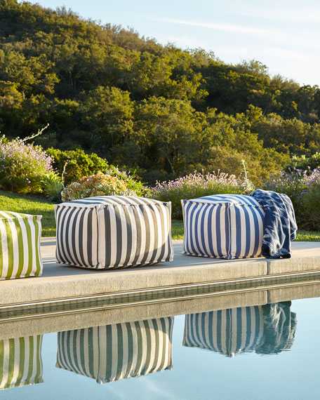 Denim/Ivory Indoor/Outdoor Beanbag Pouf