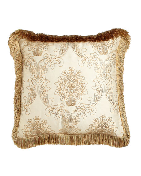 "Catania Pillow with Embroidered Sheer Overlay, 20""Sq."