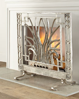 Stylized Nickel Fireplace Screen