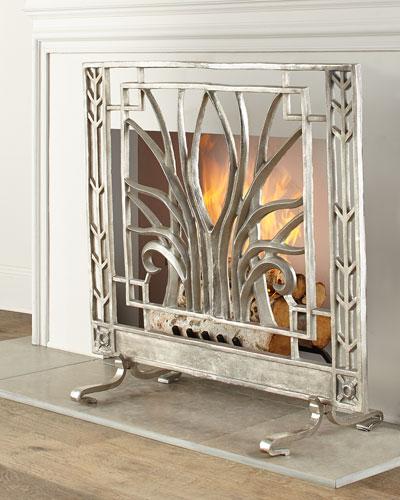 Stylized Nickel Fireplace Screen