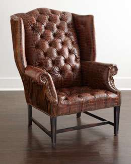 Aidan Tufted-Leather Wing Chair