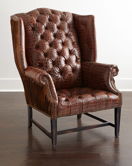 Old Hickory Tannery Aidan Tufted Leather Wing Chair