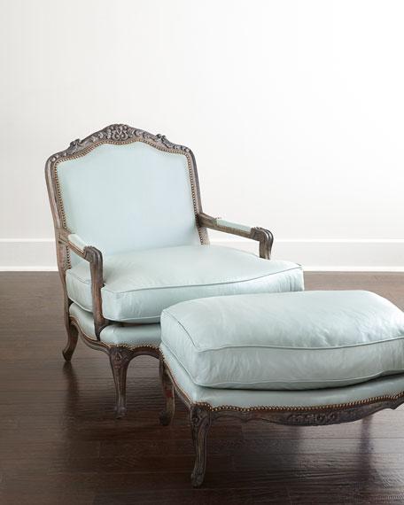 Bates Leather Ottoman