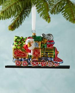 Santa on Train Christmas Ornament