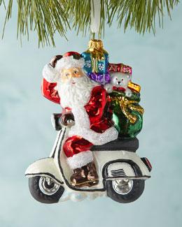 Santa on Scooter Christmas Ornament