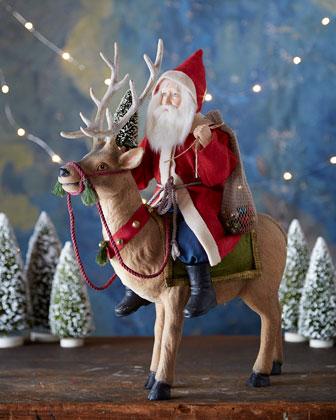 Bethany Lowe Vintage Style Santa Riding Reindeer