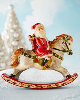 Santa on Rocking Horse Figure