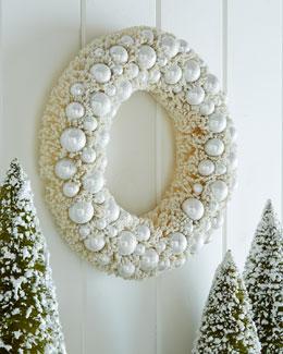 Ivory Platinum Bottle-Brush Christmas Wreath