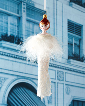 De Carlini Lady With White Feathers Christmas Ornament