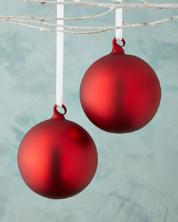 Red Matte Glass Ball Christmas Ornament, Set of 2