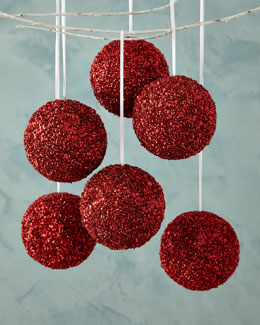 Red Sequined Beaded Ball Christmas Ornament, Set of 6