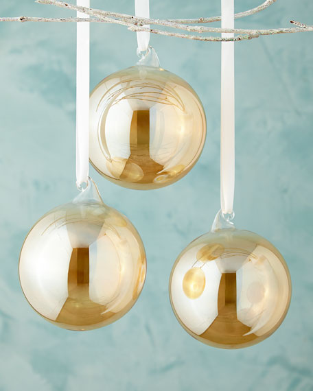 Jim marvin amber clear glass ball christmas ornament set of