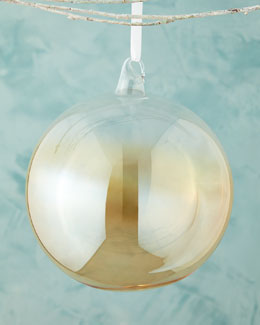 Amber Iridescent Glass Ball Christmas Ornament