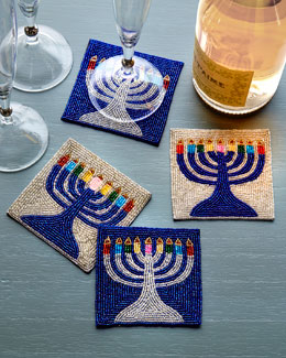 Menorah Coasters, 4-Piece Set